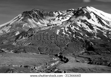 closeup of the volcanic crater of Mount St. helens in black and white - stock photo