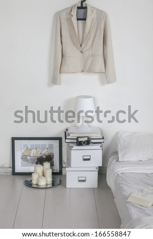 Closeup of the white bedroom. - stock photo