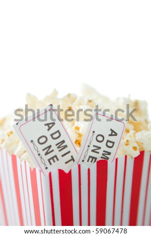 Closeup of tickets in popcorn - stock photo