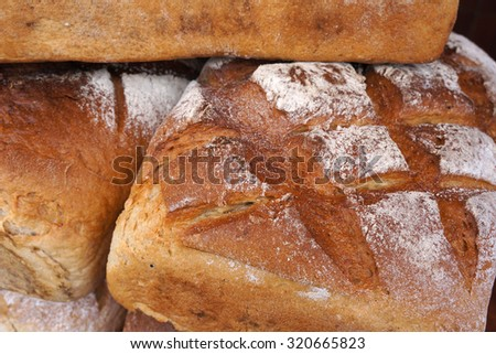 Closeup of traditional baked bread. - stock photo