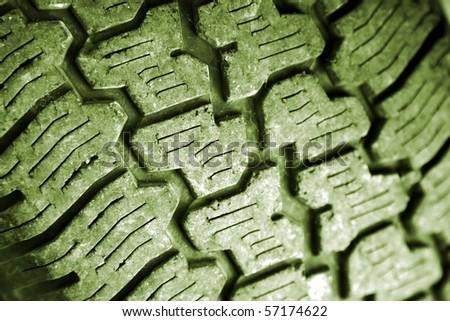 Closeup of tread on tire - stock photo