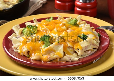 Closeup of tuna casserole with broccoli and cheese - stock photo