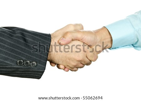 Closeup of two businessmen shaking hands in agreement - stock photo