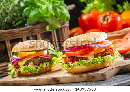 Closeup of two homemade burgers made from fresh vegetables - stock photo