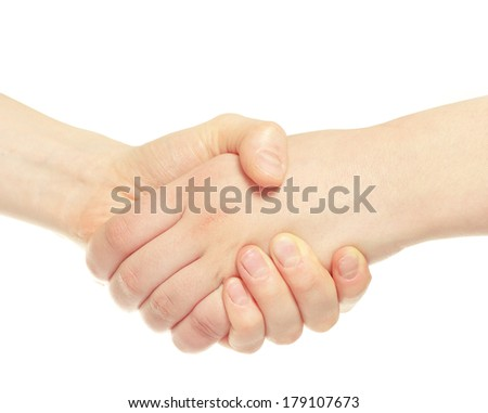 closeup of two men shaking hands isolated over white - stock photo