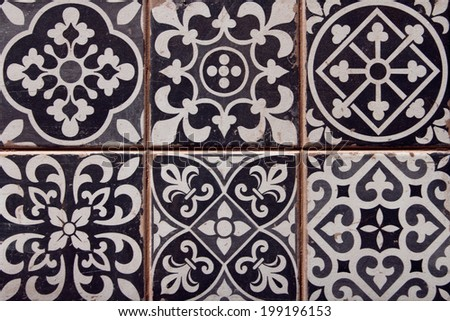closeup of typical spanish tiles  - stock photo