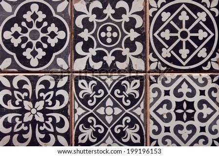 closeup of typical spanish tiles  - stock photo