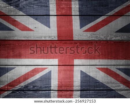 Closeup of Union Jack flag on boards - stock photo