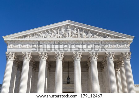 Closeup of US Supreme Court building, Washington DC - stock photo