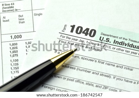 closeup of us tax forms - stock photo