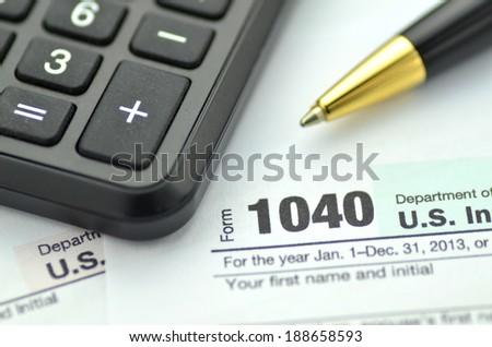 closeup of us tax forms - stock photo
