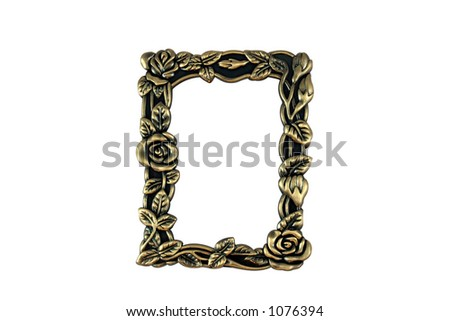 Closeup of vintage brass frame on white background.  Hand drawn clipping path included for maximum flexibility. - stock photo