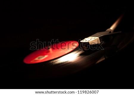 Closeup of vintage gramophone - stock photo