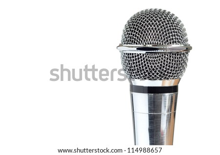 closeup of vintage microphone isolated over white background - stock photo