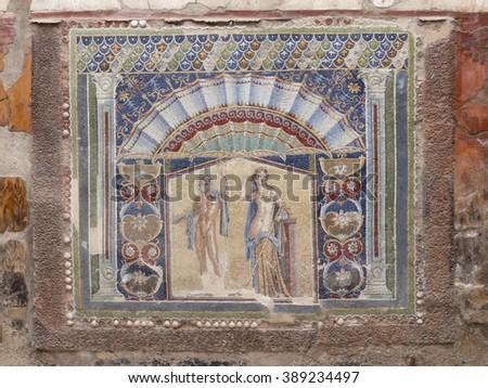 Closeup of wall mosaic in a Roman villa of Herculaneum - stock photo