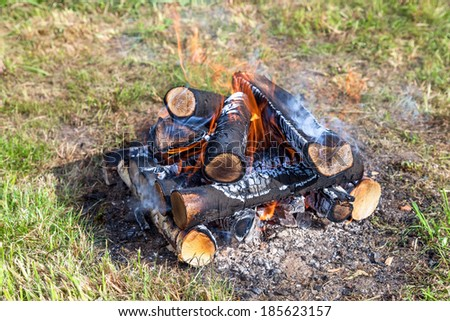 Closeup of warm fire burning in a campfire - stock photo