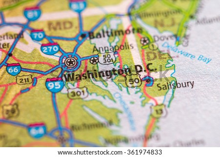 Closeup of Washington DC on a geographical map. - stock photo