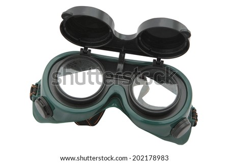 Closeup of welding glasses. Isolated on white . Clipping path included - stock photo