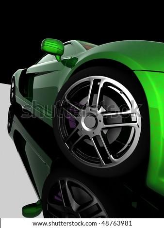 Closeup of wheels of machine on black background - stock photo