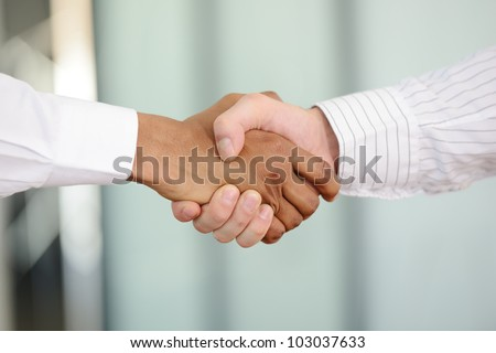 Closeup of White and Black shaking hands over a deal - stock photo