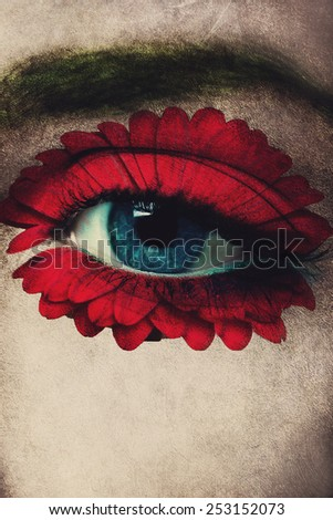 closeup of woman blue eye with red flower added around eye as well as texture, composite photo - stock photo