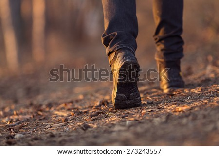 Closeup of woman legs hiking in nature at sunset. - stock photo