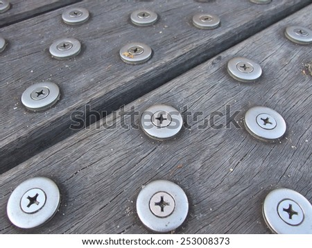 Closeup  of wood flooring with metal anti slip - stock photo