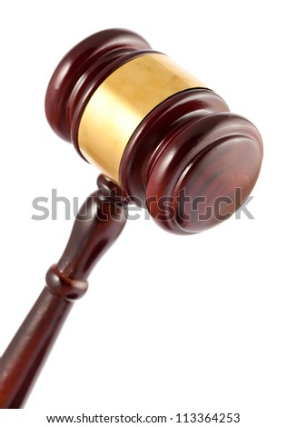 Closeup of  wooden brown gavel isolated on white background - stock photo
