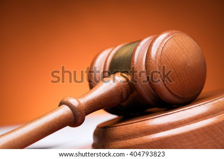 Closeup of wooden gavel - stock photo