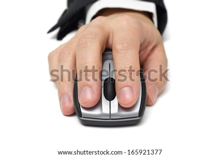 closeup of working with computer mouse isolated - stock photo