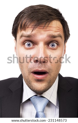 Closeup of young businessman with astonished expression isolated on white background  - stock photo