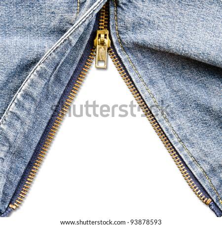 Closeup of zipper in blue denim. - stock photo