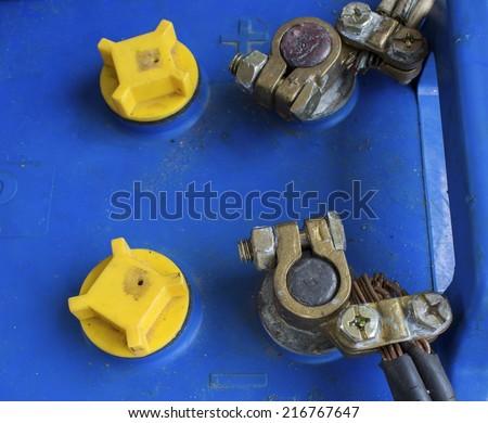 closeup old battery car terminal - stock photo