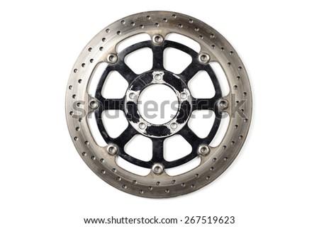 closeup old motorcycle disc break on white background  - stock photo