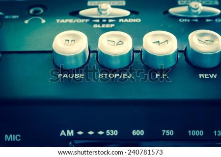 closeup old retro vintage radio button - stock photo