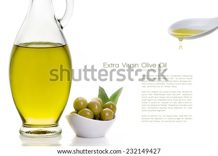 Closeup olive oil on glass bottle with olive seeds in white bowl on side, pouring olive oil dripping from a white ceramic spoon in the top right. Design template isolated on white with Sample Text.  - stock photo