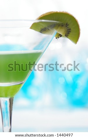 Closeup on a fruity kiwitini. - stock photo