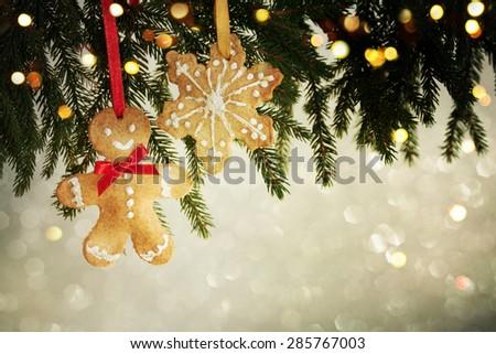 Closeup on Christmas  decoration over bokeh background - stock photo