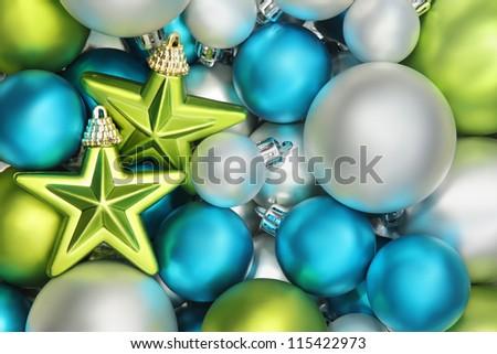 Closeup on glitter star and shiny balls,Christmas decoration. - stock photo