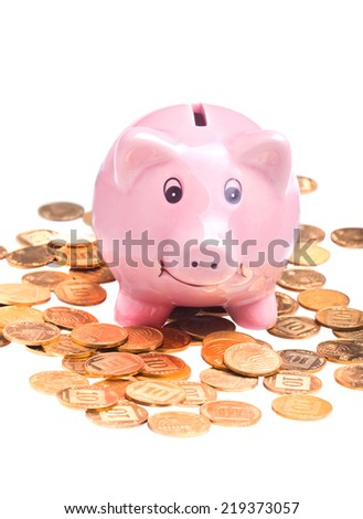 Closeup on pig-shaped pink money box and golden coins isolated over white background - stock photo