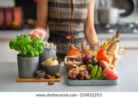 Closeup on young housewife with vegetables in kitchen - stock photo
