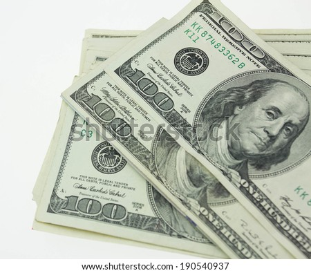 Closeup one hundred paper dollars bill - stock photo