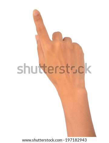 closeup opened hands, isolated on white background - stock photo