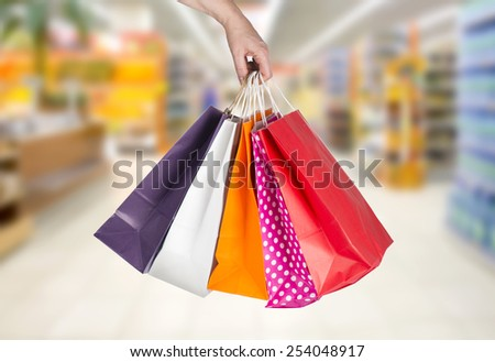 closeup or picture of multi colored shopping bags . - stock photo