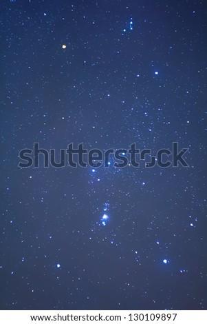 closeup orion constellation on a night sky - stock photo