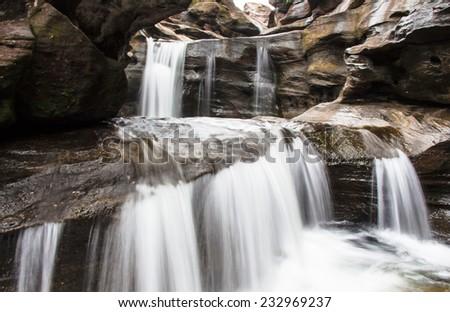 Closeup Part of Soi Sawan waterfall. National Park in Pha Taem Ubon Ratchathani Thailand - stock photo
