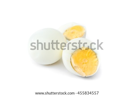 Closeup Peeled boiled egg and half egg on white background , food menu concept - stock photo
