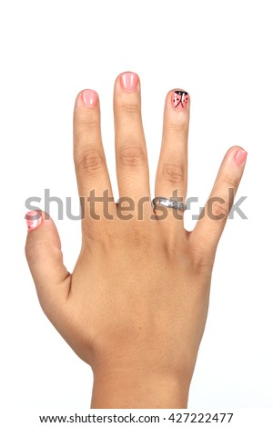 Closeup photo of a beautiful female hands with pink nails isolated on white background - stock photo