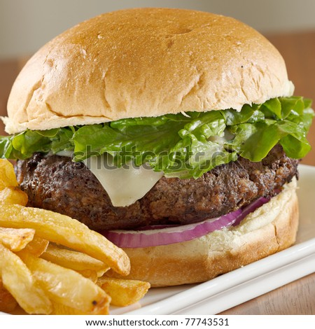 closeup photo of a hamburger with french fries on a plate. Selective focus on hamburger. - stock photo