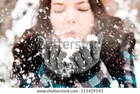 Closeup Photo of a young woman in the snow - stock photo
